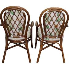 quality set of 6 rattan bamboo dining arm chairs from bucks county