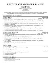 Resume Template For Hospitality Sample Resume Of Hospitality Management Resume Example Restaurant