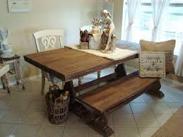 kitchen table square rectangle with bench metal solid wood 4 seats