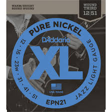 light electric guitar strings d addario epn21 pure nickel electric guitar strings jazz light 12 52