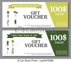 green gift voucher vector illustration gift voucher template with green plant in flowerpot vector