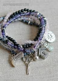 diy beaded charm bracelet images Gemstone pewter charm easy diy bracelets happy hour projects jpg