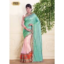peacock and baby pink colour saree with crush silk pallu with