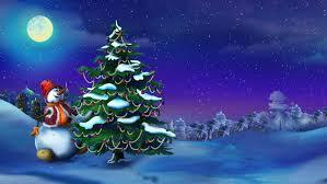 snowman near a christmas tree in a fairy tale new year night