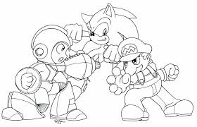megaman vs sonic vs mario lineart by n0b0d1 on deviantart