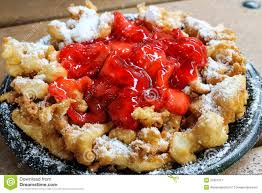 funnel cake with strawberry topping stock image image 37821311