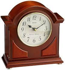 Linden Mantel Clock Amazon Com Seiko Mantel Chime Clock Brown Wooden Case Watches