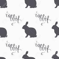 hand drawn hipster rabbit seamless pattern rabbit meat hand