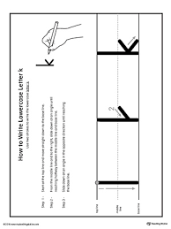 how to write lowercase letter k printable poster