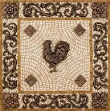 X Landmark Metalcoat Rooster Mosaic Backsplash Medallion - Kitchen medallion backsplash