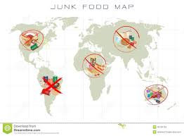 World Map To Scale by World Map With Fast Food And Take Away Food Stock Photography