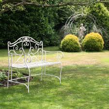 Wrought Iron Outdoor Swing by Bentley Garden White Wrought Iron Bench Buydirect4u