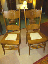 Antique Oak Ladder Back Chairs Press Back Chairs Ebay