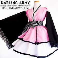 ciel phantomhive pink black butler cosplay kimono dress costume