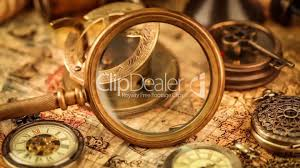World Map Watch Vintage Magnifying Glass Compass Telescope And A Pocket Watch