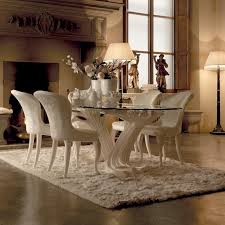 Exclusive Italian Pedestal Large Glass Dining Table Set - Luxury dining room furniture