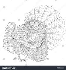 detailed zentangle turkey coloring page stock vector