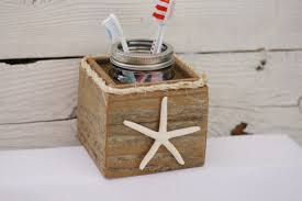 Beachy Bathroom Accessories by Toothbrush Holder Starfish Rustic Nautical Beach Ocean Theme