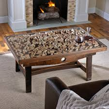 Wooden Center Table Glass Top Collector U0027s Display Top Coffee Table With Barrel Stave Legs Wine