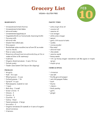 five day healthy dinner plan vegan gluten free u2014 grocery list