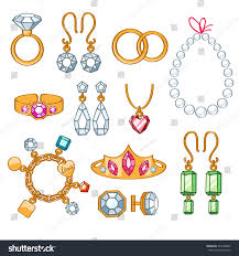 clip on earrings accessorize set jewelry items gold gemstones precious stock vector 241948822