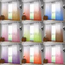 Ombre Sheer Curtains One Pair Of Two Tone Ombre Harmony Ring Top Sheer Voile Curtain