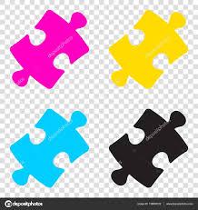 cymk puzzle puzzle piece sign cmyk icons on transparent background cyan m