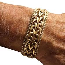 gold bracelet rope images Gold heavy vintage men 39 s solid 14k wide rope link 60 8 gr bracelet jpg