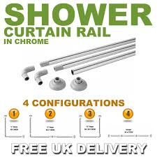 L Shaped Shower Rail Shower Curtain Rail Kit Chrome 4 Configurations L Shape U Shape