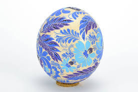 painted ostrich egg madeheart beautiful ostrich egg with folk blue petrikov painting