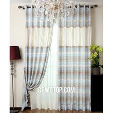 casual best bedroom beige brown and baby blue striped curtains