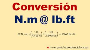 convertir n m a lb ft youtube