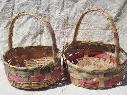 wicker easter baskets colored stripes vintage mexico woven baskets for easter flowers