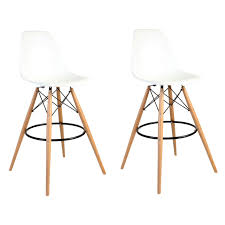 30 Inch Bar Stool Set Of 2 Eames Style Dsw White Plastic 30 Inch Bar Stool With Wood