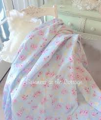 shabby cottage blue pink roses chic drapes curtain fabric by the yard