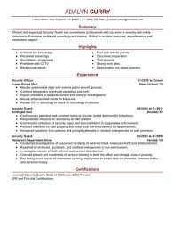 Security Guard Resume Template Mann Security Officer Cover Letter