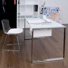 Modern Desks Small Spaces Rectangle Glass Working Desk With Chromed Metal Legs Mixed