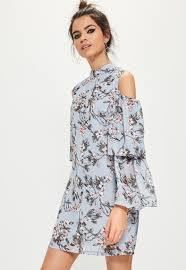 cold shoulder dress blue floral cold shoulder swing dress missguided