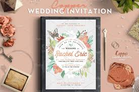 copper foil wedding invitation invitation templates creative