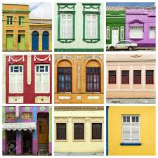 colorful facades of colonial houses in areia city brazil stock
