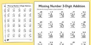 missing number three digit addition number digit addition