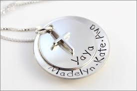 Personalized Hand Stamped Jewelry Yaya Or Grandma Necklace With Cross Charm And Three Names Two