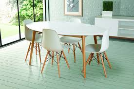 my furniture dining table lacquered white retro oval tretton