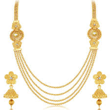 gold plate necklace images Sdj 4 string gold plated set of 2 necklace set pv 700 goworry jpg