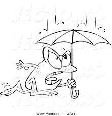 vector cartoon frog dashing rain umbrella