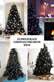 black tree with decorations silver and