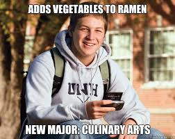 Culinary Memes - adds vegetables to ramen new major culinary arts college