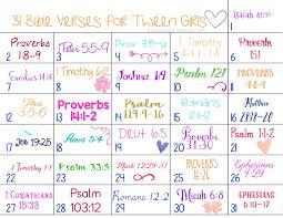 31 days of bible verses for tweens printable calendar