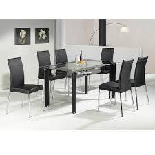 Black Glass Extending Dining Table 6 Chairs Glass Dining Table And Chairs Set Inspiration Extendable