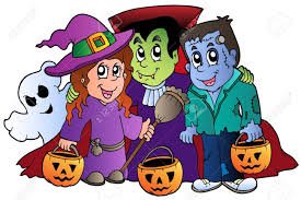 halloween trick or treat characters illustration royalty free